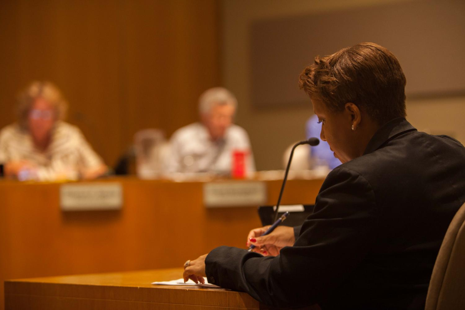 Oberlin City Council Clerk Belinda Anderson at Monday's City Council meeting, where the council discussed a potential amendment to Oberlin's City Codes that would give increased rights and protections to LGBTQ community members.