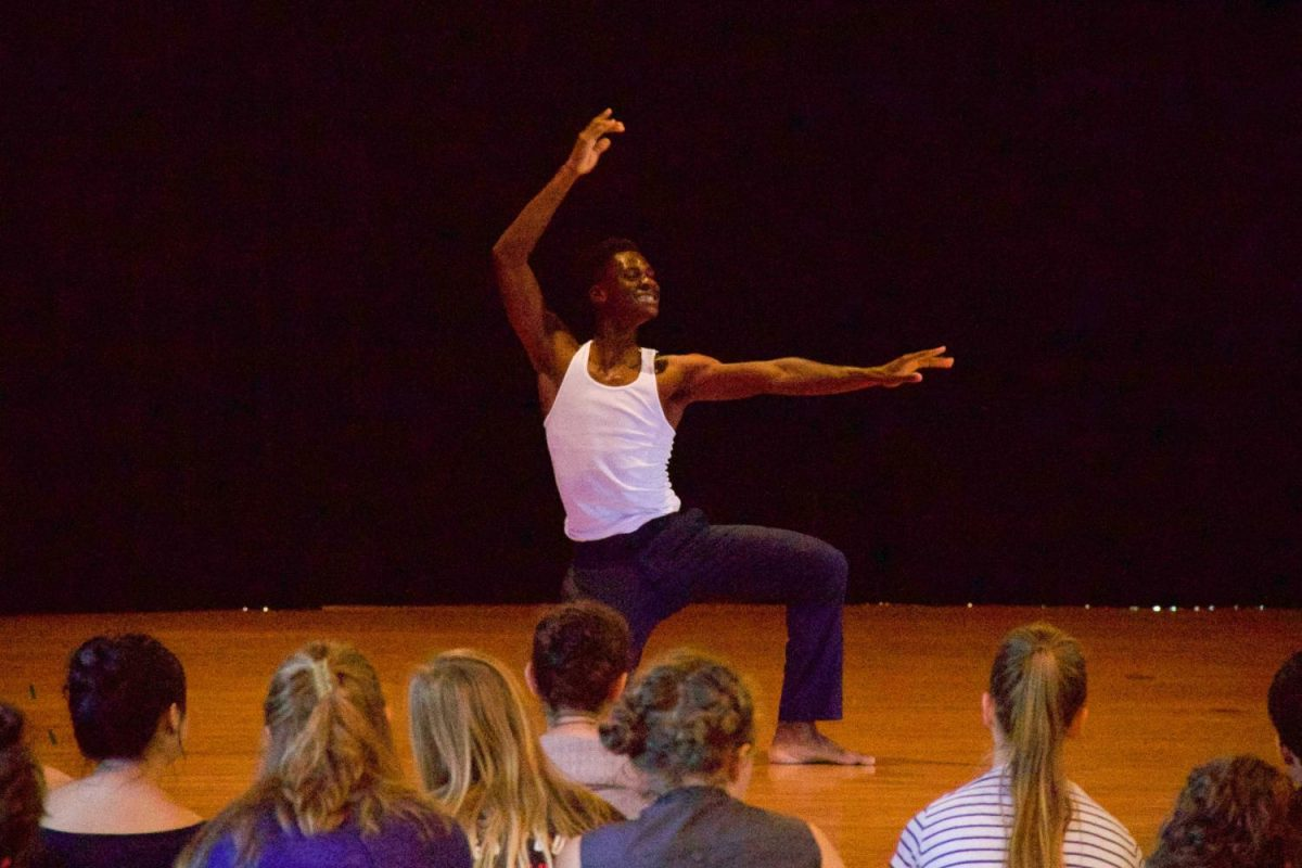 Kweku+Bransah+performs+%E2%80%9CThe+Art+of+Making+Dances+%7BNot+About+Ferguson%7D%E2%80%9D%2C+a+dance+choreographed+by+Robin+Prichard.+The+performance+engages+with+U.S.+history+and+the+present+climate+of+anti-Black+violence+through+dance.