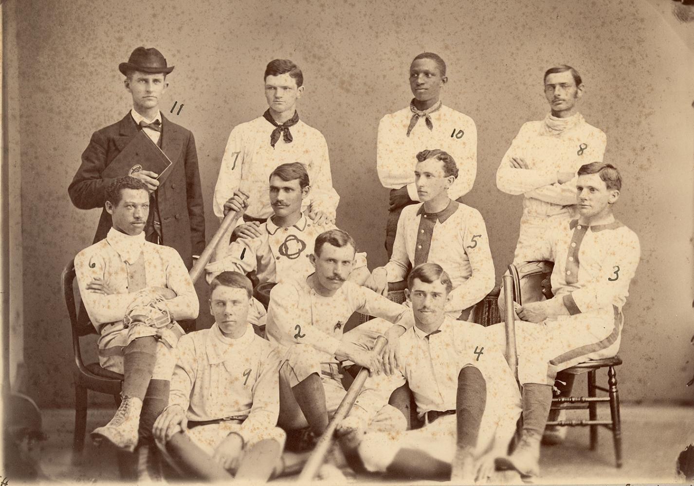 Moses Fleetwood Walker, 6, was a member of Oberlin's first varsity baseball team in 1881. His brother Weldy, 10, was also on the team. They went on to become the first and second African Americans to play in the major leagues, respectively.