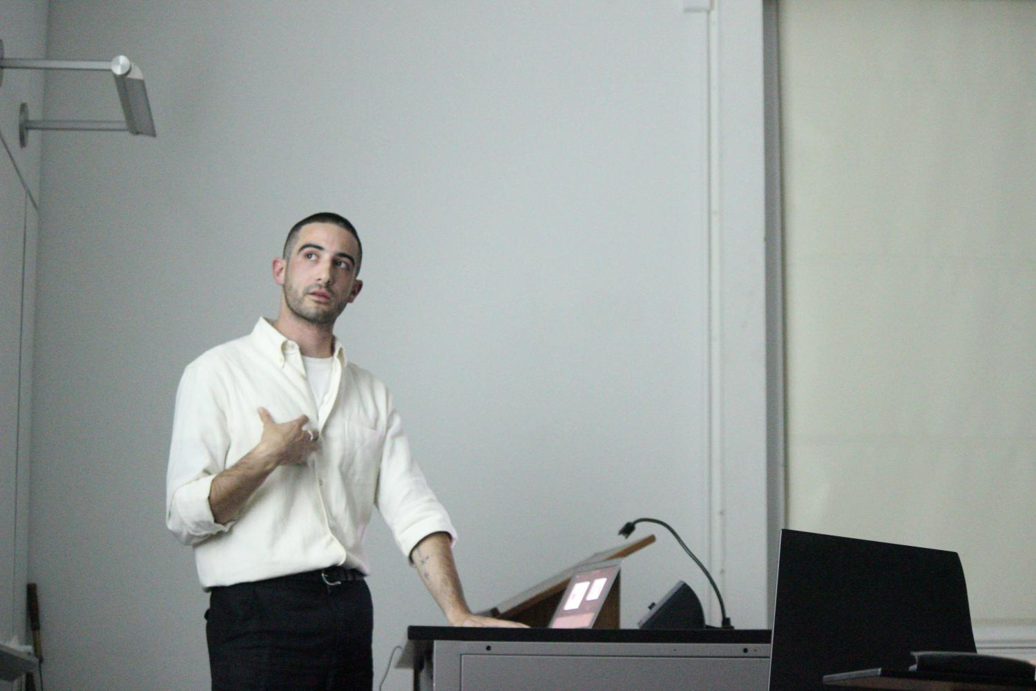 Lucas Briffa, OC '12, returned to Oberlin to give a film screening on Sunday and a talk on Monday as part of the Pathways 2017 series.