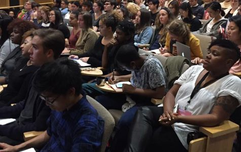 Conferencegoers attend the second day of panel presentations on race, art, and aesthetics last Saturday.