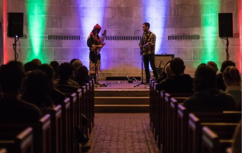 Ainu musician Oki Kano performs on tonkori to a packed Fairchild Chapel. Kano, along with ethnomusicologist Nate Renner, came to Oberlin this week for performances and lectures about indigenous music.