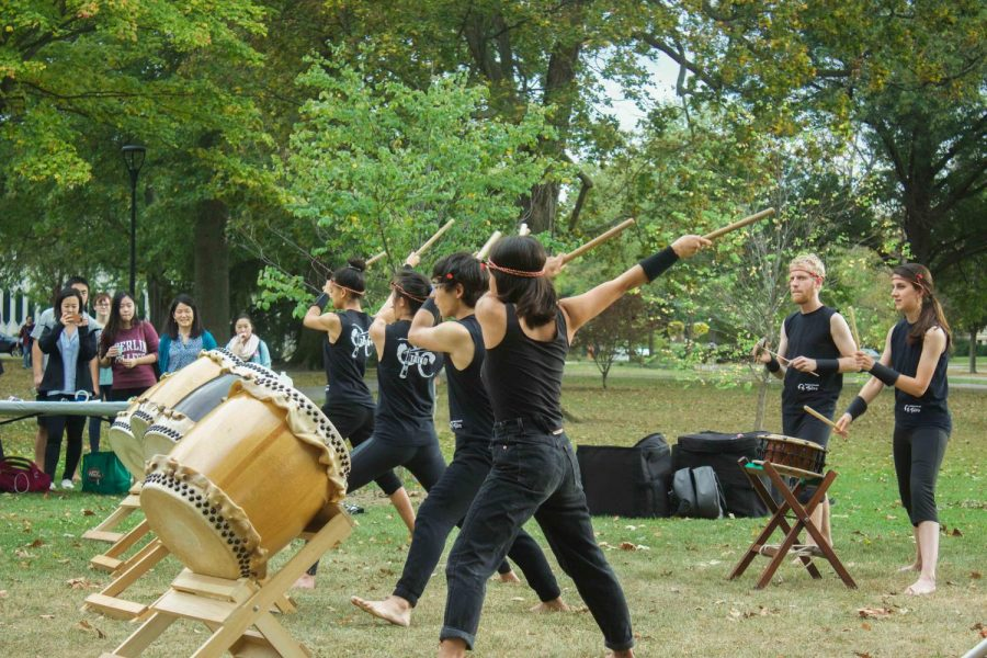 Members+of+OC+Taiko+perform+during+Wednesday%27s+tree+planing+ceremony+in+Tappan+Square.+The+ceremony+honored+saplings+grown+from+seeds+that+had+survived+the+dropping+of+the+atomic+bomb+at+Hiroshima.