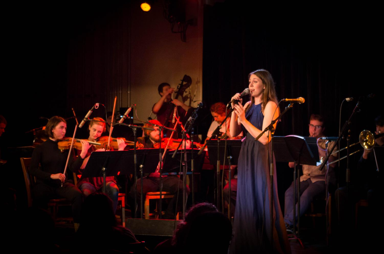 "Double-degree junior Marina Wright performs in the ""Britney Showcase,"" which featured Britney Spears songs with innovative arrangements and orchestration."