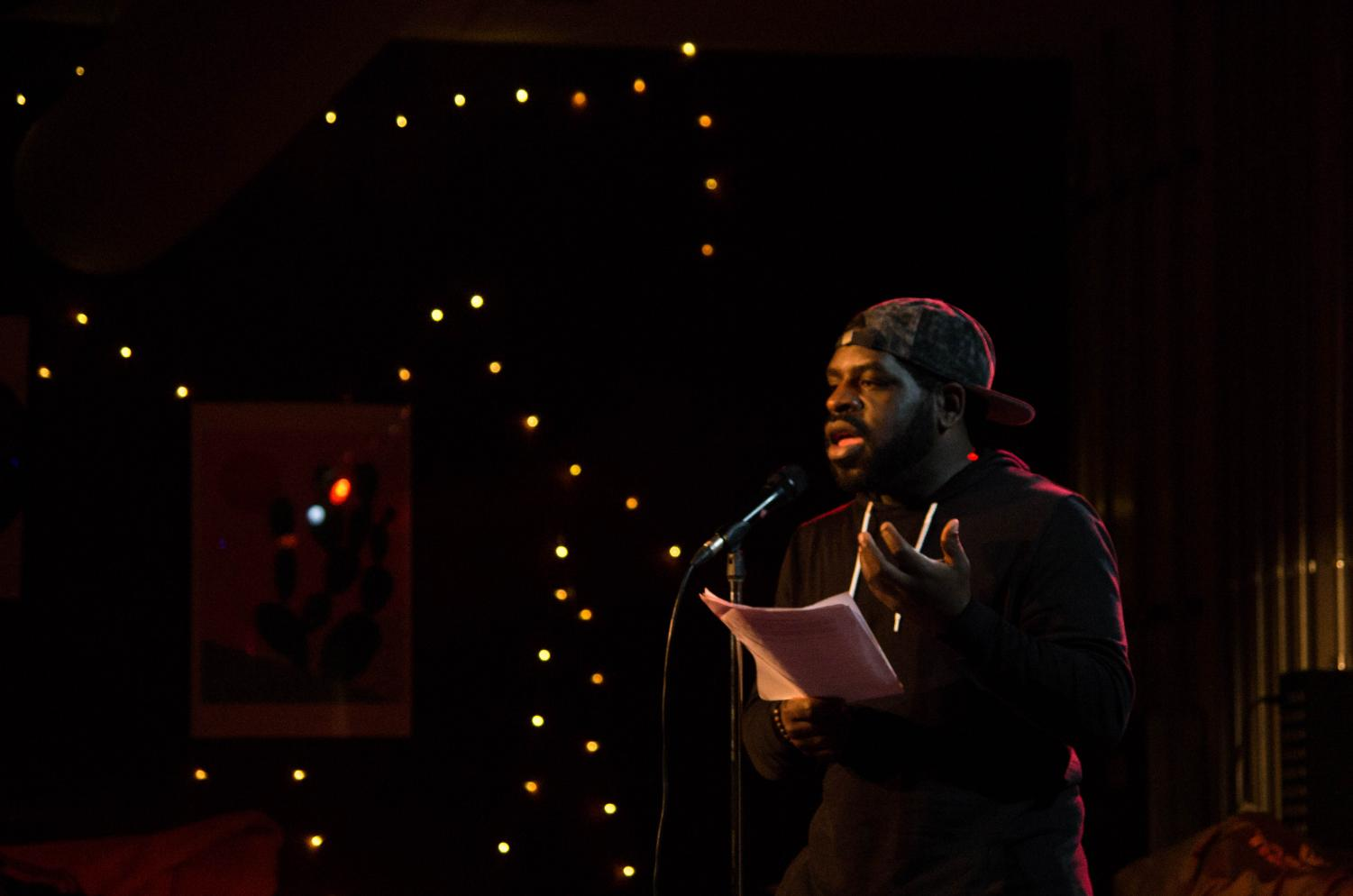 Slam poet Hanif Willis-Abdurraqib performed a selection of witty, unusual, and energetic poems at the Cat in the Cream Monday night.