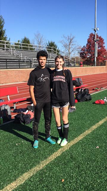 Seniors Tristan Clonch (left) and Eliza Poor, Oberlin club soccer captains.