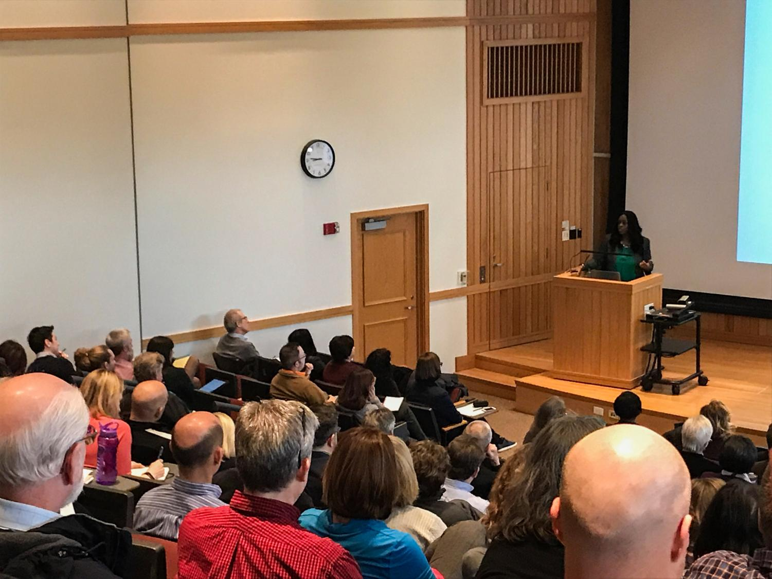 President Carmen Ambar speaks during Thursday's General Faculty Compensation Committee forum. The committee held the forum to address questions about the changes to salary increases and benefits.