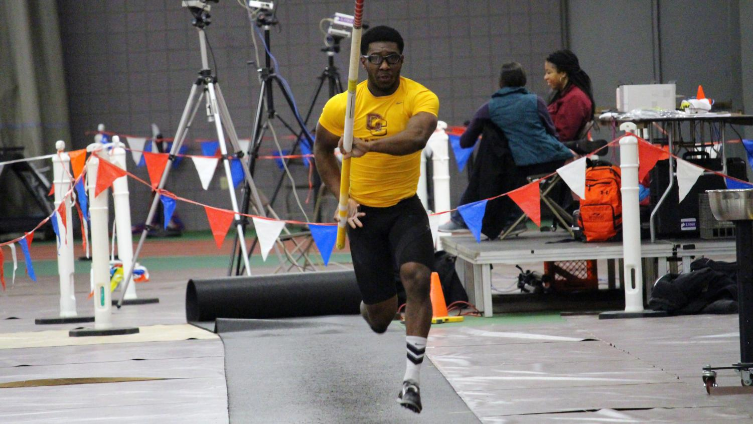 College junior Jahkeem Wheatley captures first place in the pole vault event in the Dan Kinsey Meet at Oberlin Jan. 12.