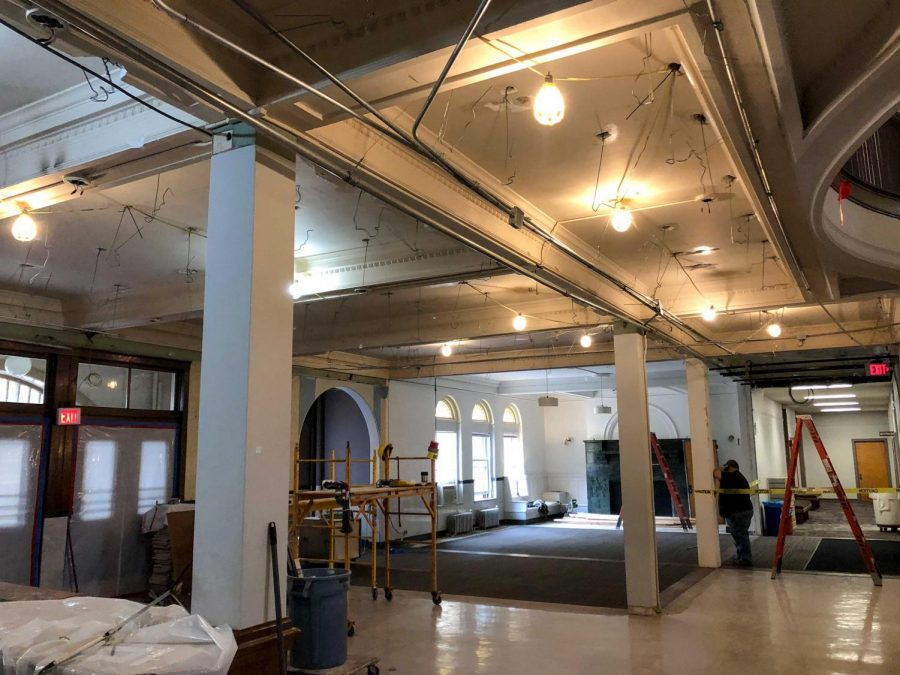 Wilder Hall lobby was renovated over Winter Term. The space had numerous walls knocked down in an effort to give students more community spaces to engage with.