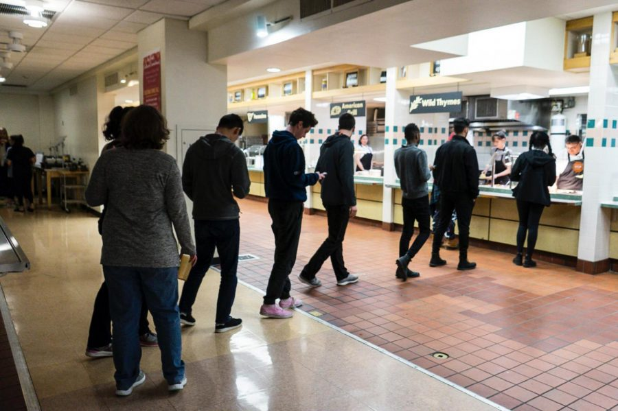 Students+line+up+to+get+food+at+Fourth+Meal%2C+which+will+be+moved+to+DeCaf%C3%A9+and+the+Rathskeller+next+fall+due+to+the+closing+of+Dascomb+Dining+Hall.