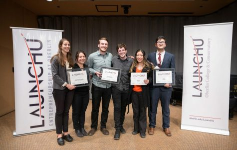 Winners of the LaunchU competition stand together. From left to right: Catherine O'Hare, OC '11, and Tessa Emmer, OC '11; double-degree senior Benjamin Steger and College senior Bryan Rubin; College first-year Katie Kim; and College senior Hassan Bin Fahim.