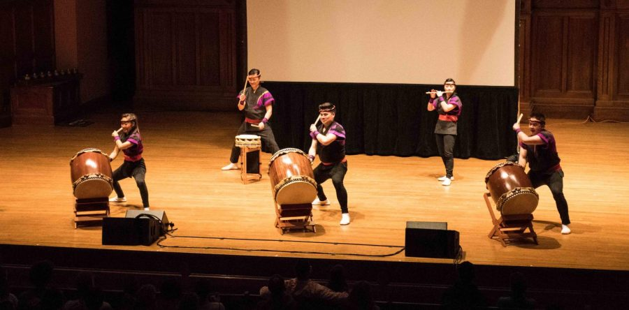 Members+of+San+Jose+Taiko+give+an+energetic%2C+awe-inspiring+performance+in+Finney+Chapel+Saturday.+Taiko+is+a+Japanese+art+form+featuring+synchronized+ensemble+drumming.+The+performance+took+place+in+conjunction+with+a+presentation+on+the+history+of+taiko+in+the+U.S.+and+the+incarceration+of+Japanese+Americans+during+World+War+II%2C+as+part+of+the+series+of+events+organized+around+the+current+exhibit+%E2%80%9CCourage+and+Compassion%3A+Our+Shared+Story+of+the+Japanese+American+World+War+II+Experience.%E2%80%9D