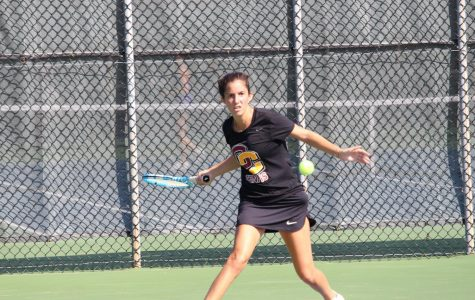 Senior Mayada Audeh warms up for the ITA Central Regionals, hosted by Oberlin in September. Over spring break, the Yeowomen won all three of their matches, giving them a six-game winning streak heading into conference play.