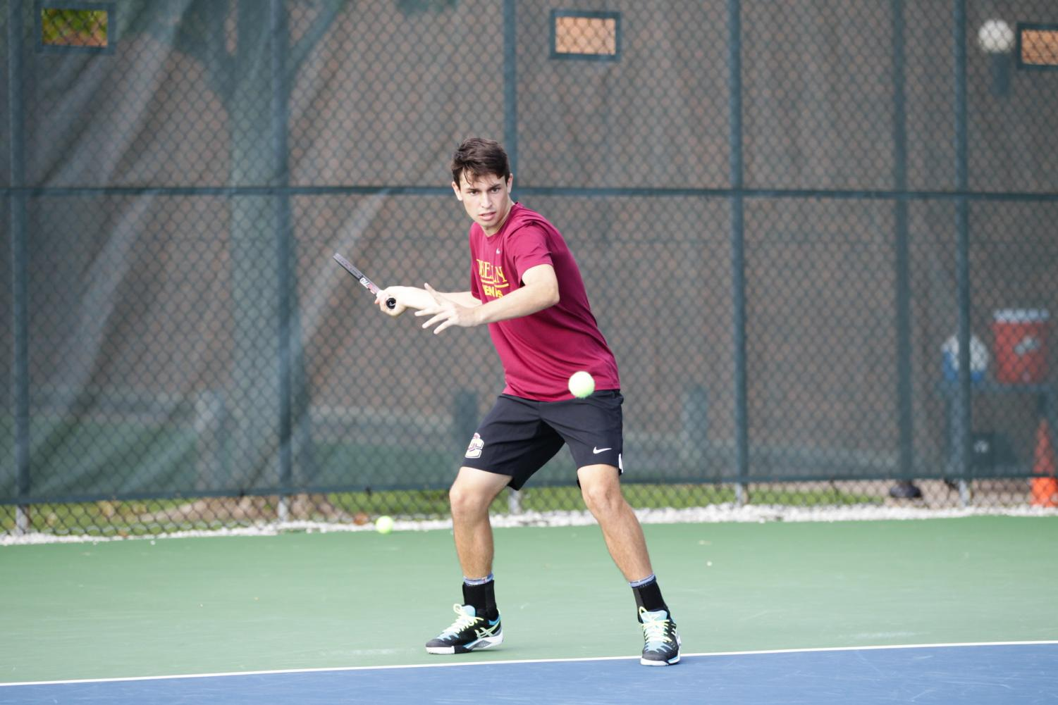 Sophomore Stephen Gruppuso played a major role in the Yeomen's victory over No. 35 Hobart College Sunday. Gruppuso and fellow sophomore Camron Cohen won their doubles match in the No. 1 spot 7–5, which gave the team momentum going into singles play.