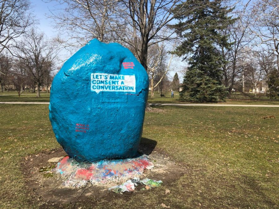 Students from Preventing and Responding to Sexual Misconduct painted a rock in Tappan Square to celebrate Consent Month,which aims to spread awareness of healthy sexual and consent practices.