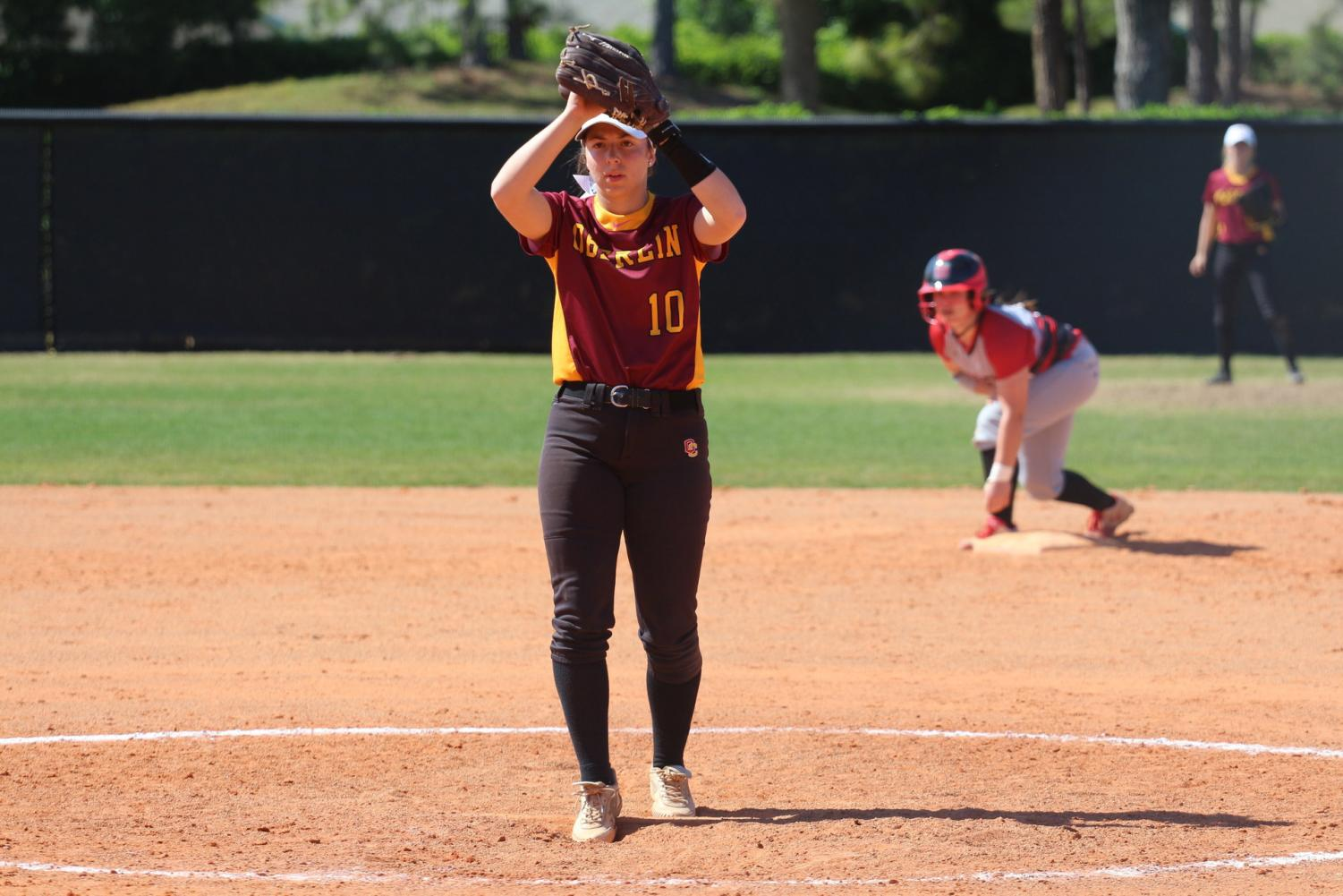 First-year pitcher Emily Tucci prepares to deliver a pitch against Grinnell College on March 22. Tucci has been a major addition to the softball team, boasting a team-low 2.72 ERA in 13 appearances and adding 14 hits and three home runs through 18 games.