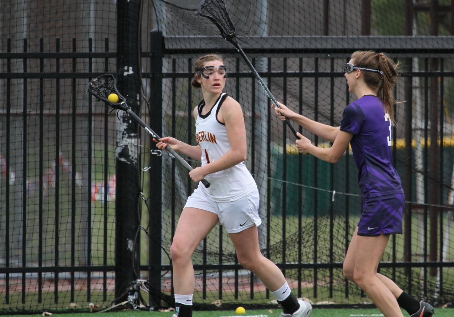 Senior midfielder Sydney Garvis attempts to rifle the ball past a Kenyon College Ladies defender on senior day. The Yeowomen ended their season last Wednesday against the College of Wooster Fighting Scots in the NCAC semifinals.