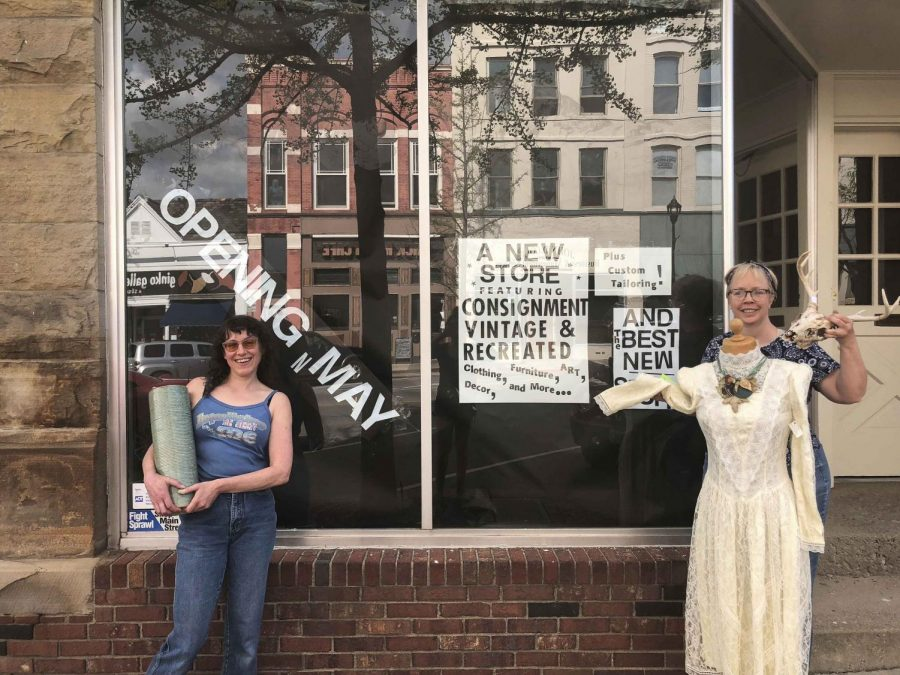 Laurel Kirtz and Kate Harvey, co-owners of All Things Great, a consignment and vintage store, which will open tomorrow on South Main Street.