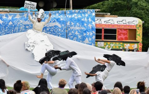 Puppeteers from the Bread and Puppet Theater enact a scene as part of their political activism performance in the Grasshopper Rebellion Circus. The group performed at the Clark Bandstand in Tappan Square Tuesday afternoon.