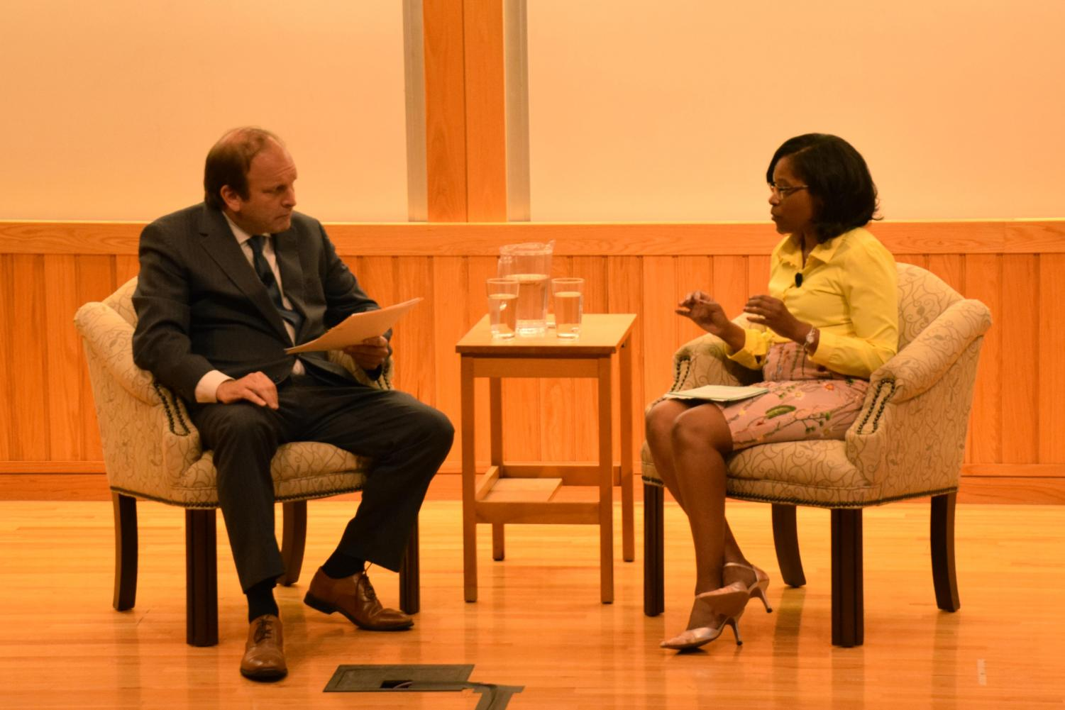 Ohio Supreme Court Justice Pat DeWine and Oberlin Vice President, General Counsel, and Secretary Donica Thomas Varner converse about the First Amendment on Constitution Day.