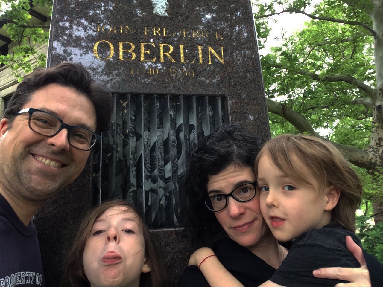 Professors Emily Barton and Tom Hopkins, new staff in the Creative Writing department, are quite proficient in the art of the selfie and taking family portraits around Oberlin.