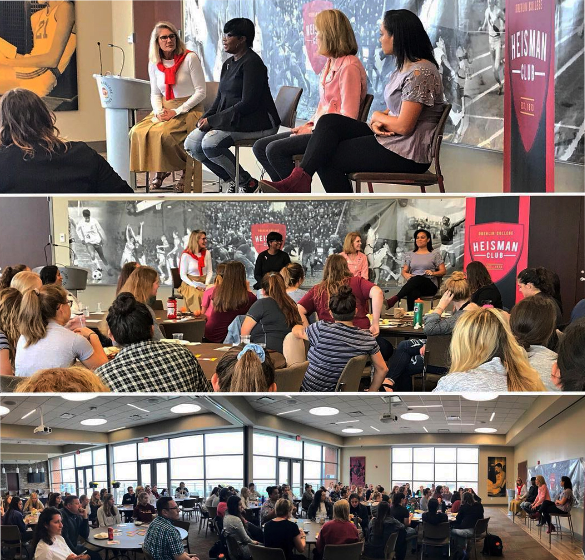 Women athletes gathered together Sunday morning to listen to a power-packed panel of OC women alumnae to cap off of Homecoming Weekend. After a brief breakfast, the participants engaged in an intense discussion about personal impact of OC athletics in Oberlin and beyond.