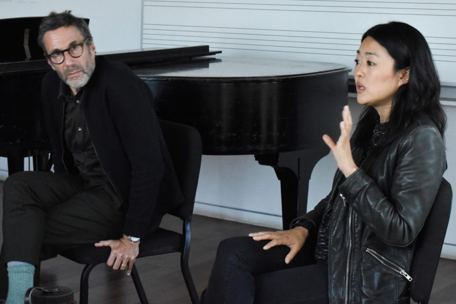 Music executives Bruce Lampcov, OC '77, and Jumee Park, OC '99, spoke to students about their experiences breaking into the music industry.