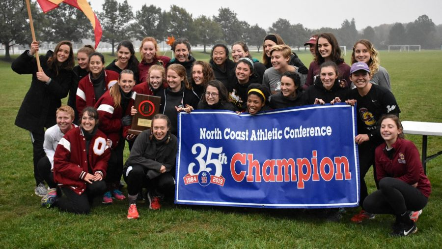 The women's cross country team beat Allegheny College by one point Saturday, Oct. 27 at the North Coast Athletic Conference Championship, and took home the trophy for the first time in three years. Numerous members of the team credit their leadership and discipline for giving them the slight advantage over the Gators.