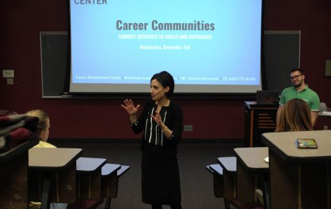 Associate Dean of Students Dana Hamdan explains the Career Communities initiative at an information session Wednesday, Dec. 5 in King Building.