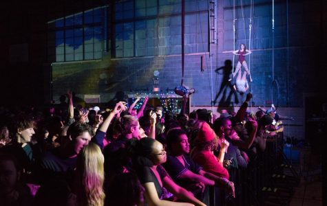 Aerialists perform at last fall's Solarity Presents: WASTELAND. The event consistently draws large crowds and features both student and visiting artists.