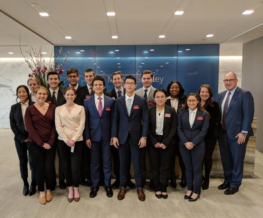 Oberlin's Ashby Business Scholars pose at Morgan Stanley, a financial services company, in New York City.