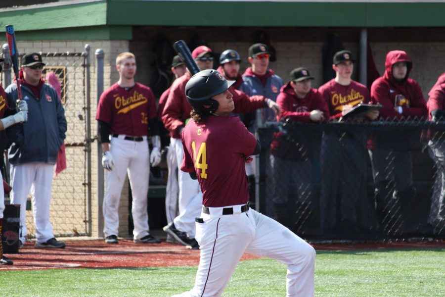Jacob Thompson swings during his at-bat against Capital University over the weekend. He recently was named National Collegiate Baseball Writers Association Rookie of the Week after his performance.
