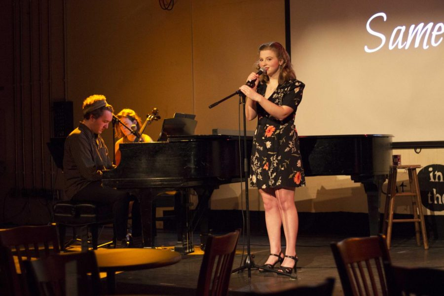 College senior Hana Shykind rehearses her original cabaret, Same Same, accompanied by College senior Kieran Minor on the piano and double-degree fifth-year Linnea Scott on the cello to prepare for their performance this weekend.