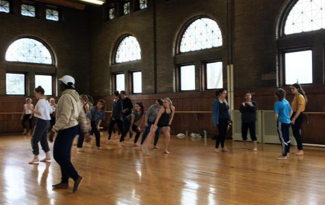 Students and instructors take a class in Warner Dance Studio as part of this year's Ohio 5 Dance Conference, hosted by Oberlin College.