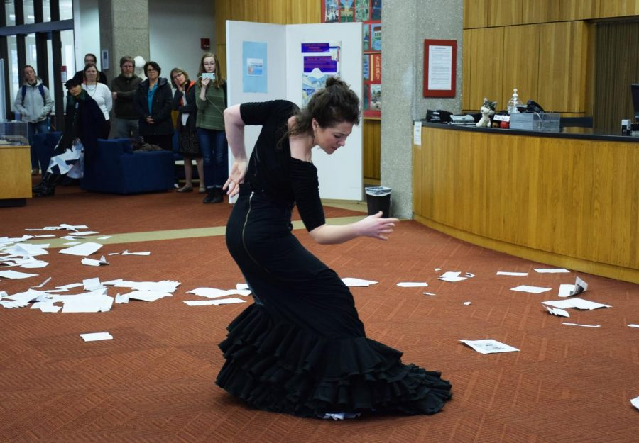 Visiting Assistant Professor of Dance Alice Blumenfeld performed Labyrinths, an experimental flamenco installation, in the Terrell Main Library on Wednesday.