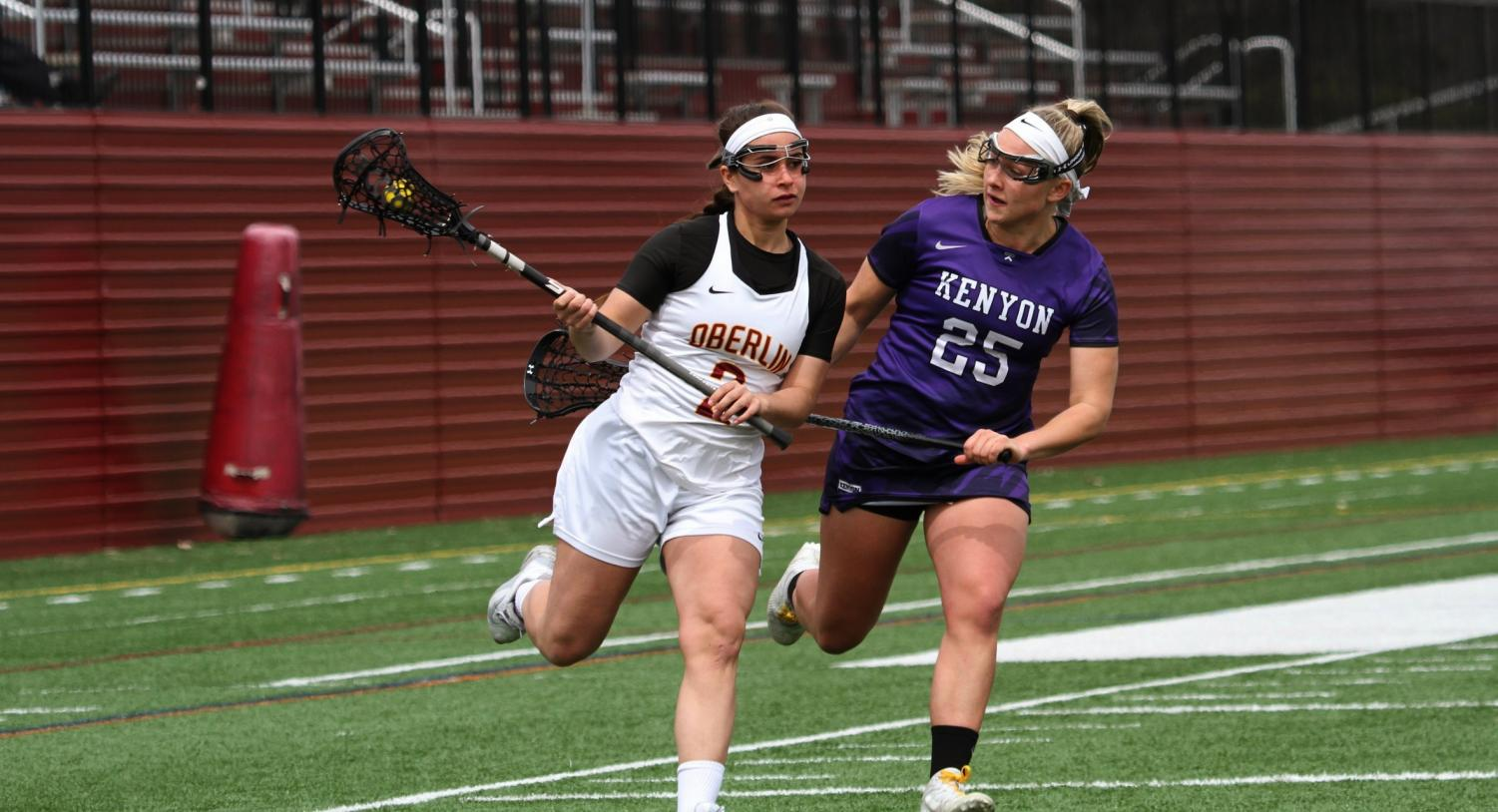 College senior and women's lacrosse player Sabrina Deleonibus was recruited to play basketball at Oberlin, but quit after her first year to join the women's lacrosse team. She is now one of the Yeowomen's biggest offensive threats and a leader on the team.