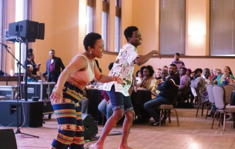 Double-degree sophomore Kopano Muhammad and College sophomore Blessing Bwititi perform at last Saturday's ASA banquet.