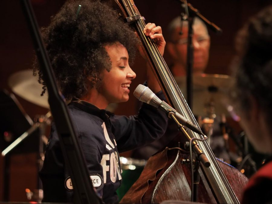 Esperanza Spalding performs for a sold-out house in Finney Chapel Wednesday night.