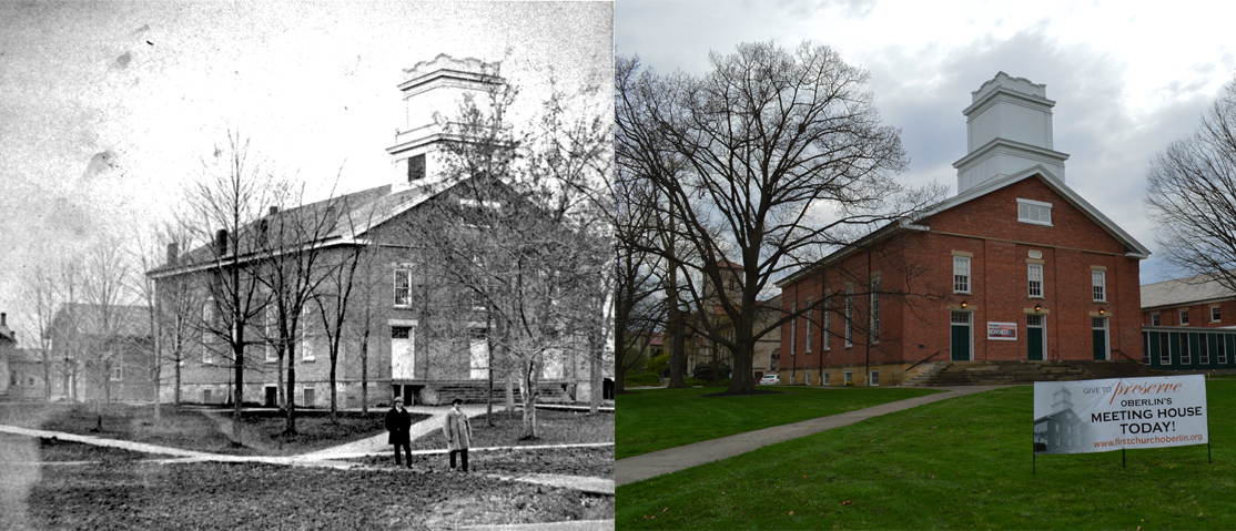 The First Church in Oberlin, United Church of Christ, in 1870, and the same building in 2019, almost 150 years later.