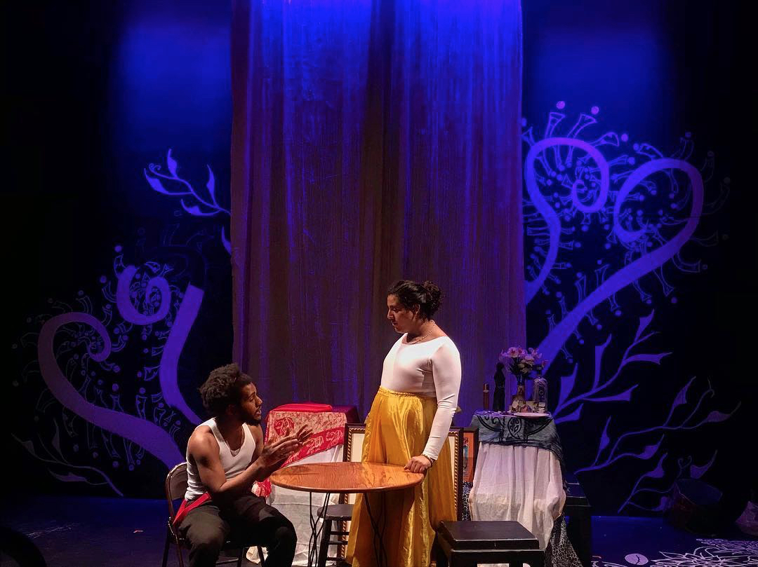College seniors Elijah Aladin and Nani Borges rehearse Songs from my Mother's Seashore before opening night Thursday.