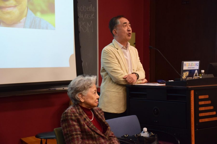 Shigeko Sasamori and Professor of Japanese at Purdue University Kazumi Hatasa gave a lecture last week about Sasamori's experience in Hiroshima in 1945.