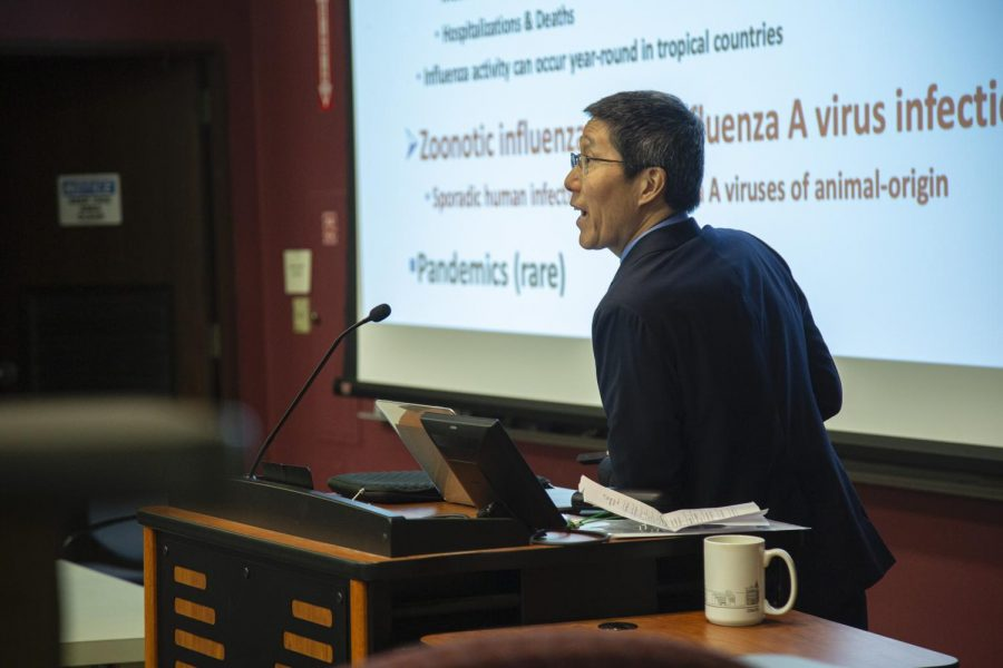 """Dr. Tim Uyeki delivers his talk, """"From Avian Influenza to Ebola & Public Health: Reflections of a Clinician and Epidemiologist"""" in King Building on Thursday."""