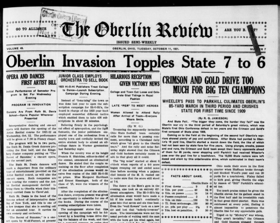 The Oberlin Review front page from Oct. 11, 1921.
