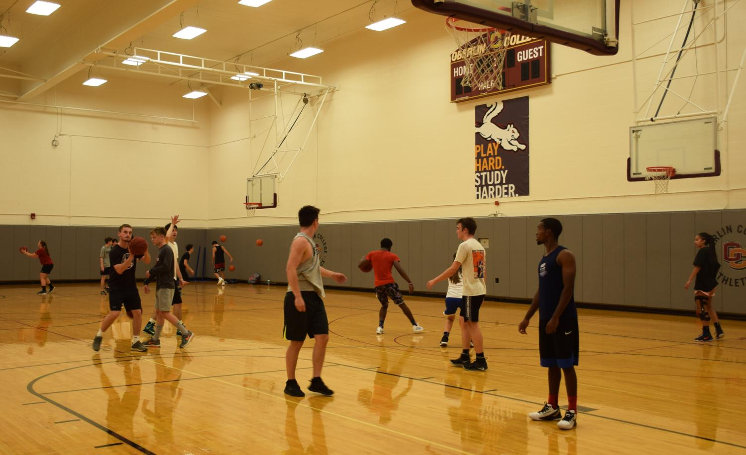 Oberlin students playing pick-up basketball at Philips gym.