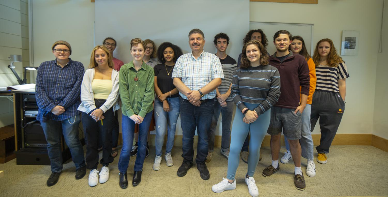 Students in the Arabic 101 course taught by Visiting Assistant Professor of Arabic Mahmoud Meslat. Following a faculty petition this spring, the College Faculty Council approved introductory Arabic courses for both the fall and spring semesters.