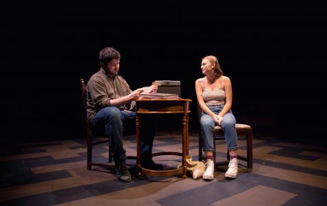 College fourth-year Lily Battino and College third-year James Dryden perform in All This Intimacy.