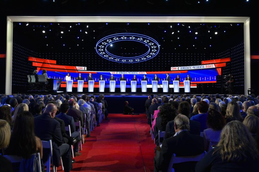 Democratic presidential candidates stand on stage at the Oct. 15 Democratic debate, hosted at Otterbein University by CNN and The New York Times.