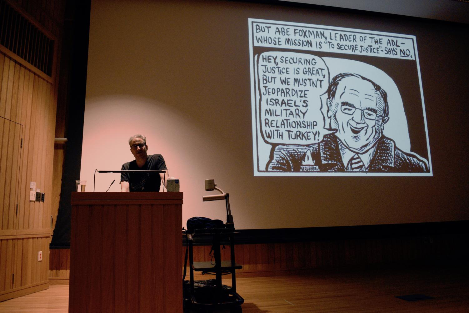 Eli Valley discussing his comics in Dye Lecture Hall.
