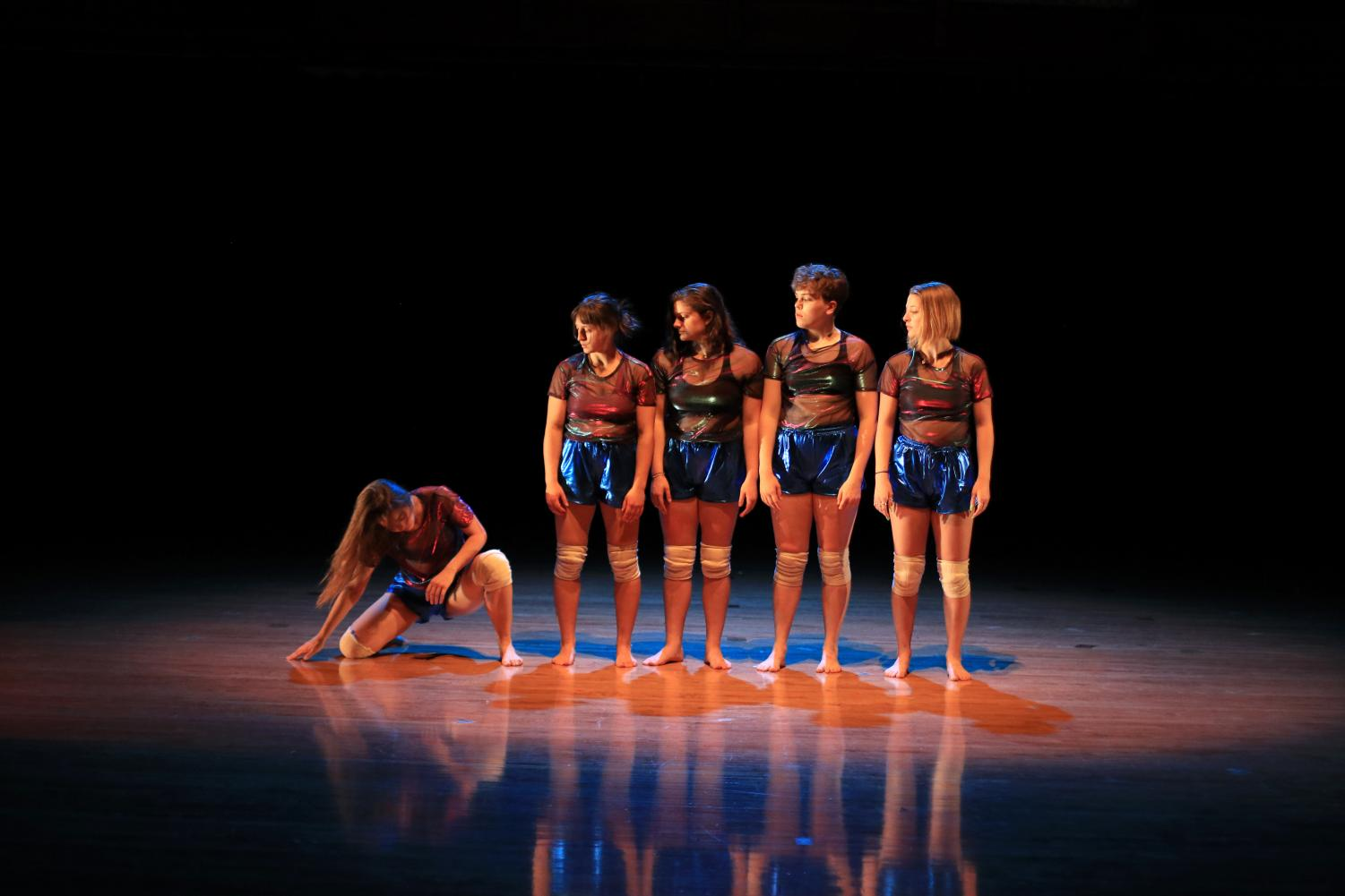College third-year Evelyn Morrison, fourth-year Georgie Johnson, first-years Lena Golia and Emmacate Sauer, and second-year Analise LaRiviere in a piece choreographed by visiting artist Krystal Butler.