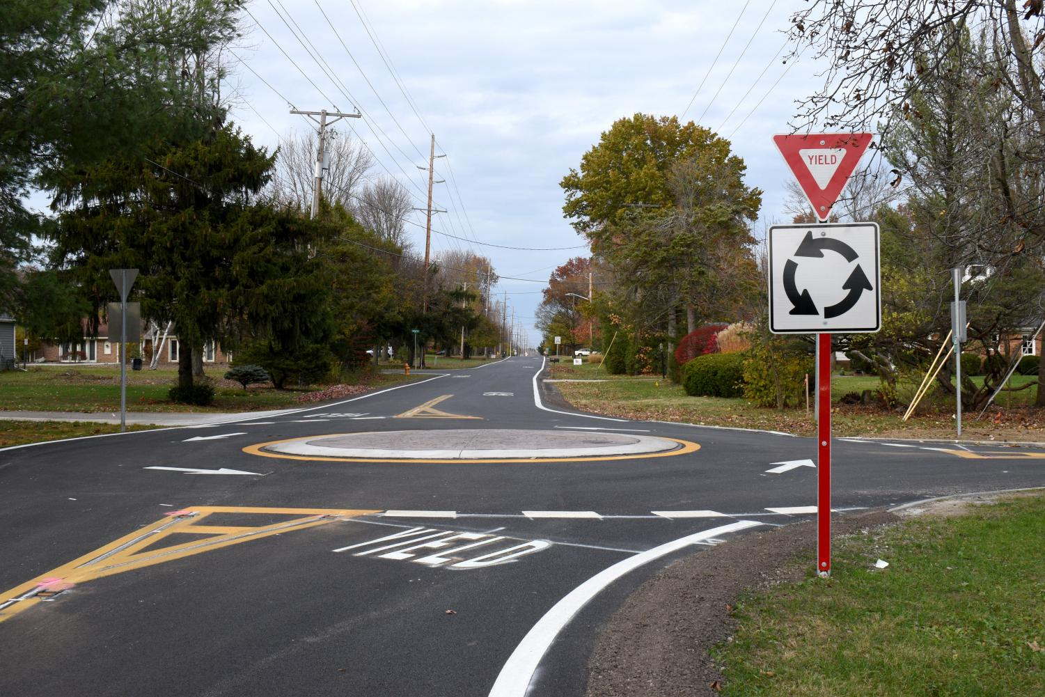 A newly-installed roundabout on Pyle South Amherst Road in Oberlin.